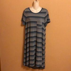 LulaRoe Carly Blue Gray Dress S
